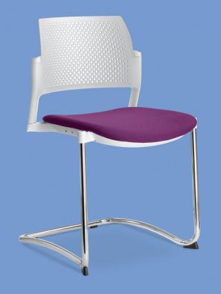 Jednací a konferenční židle DREAM+ 101-WH/B-N4, konstrukce chromovaná, područky
