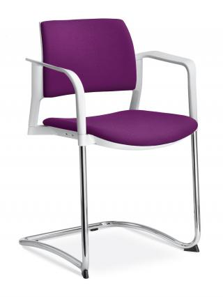 Jednací a konferenční židle DREAM+ 104-WH/B-N2 konstrukce efekt hliník, područky