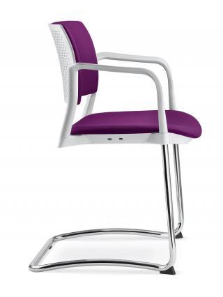Jednací a konferenční židle DREAM+ 104-WH/B-N4, konstrukce chromovaná, područky