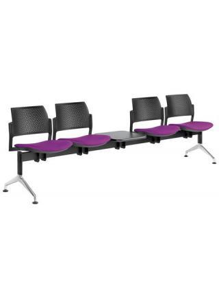 Multisedák čtyřmístný DREAM+ 143/4T-N1, konstrukce černá, stolek