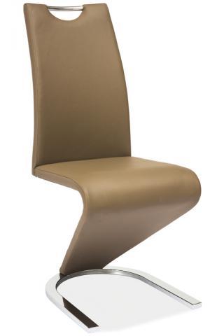 Jídelní a kuchyňská židle H-090, čalouněná, cappuccino/ocel