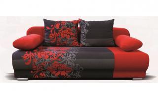 Rozkládací pohovka FUTON červená s květy