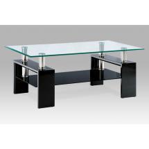 Konferenční stůl černá lesk/sklo čiré110x60x45 cm,8 mm sklo,černá polička