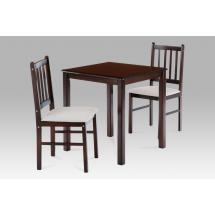 set 1+2, solid top table 69x69 + 2pcs 4 slats small jaya chairs with cushion KADUT seats, walnut