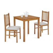 set 1+2,solid top table 69x69 + 2pcs 4 slats small jaya chairs with cushion L2537 seats, oak