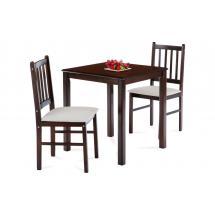 set 1+2, solid top table 69x69 + 2pcs 4 slats small jaya chairs with cushion KADUT seats, walnut