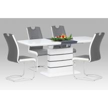 Jídelní stůl 140+40x80, vysoký lesk bílý & šedý