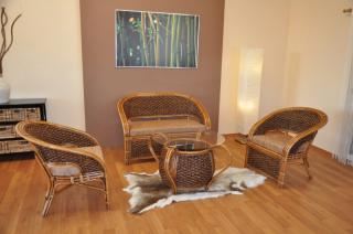 Ratanová sedací souprava Prafa, vodní hyacint, polstry hnědé