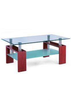 Konferenční stůl třešeň/sklo čiré, mléčná polička AUTRONIC AF-1024 TR2