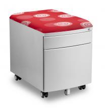 Pojízdný kontejner pro stoly PROFI3 s čalouněnou sedací plochou z látky