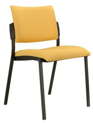 Jednací čalouněná židle  SQUARE (černá konstrukce)