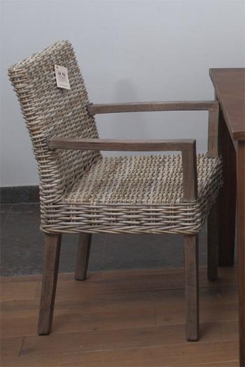 Ratanová jídelní židle, područky, přírodní ratan Kubu HD NABYTEK A10690