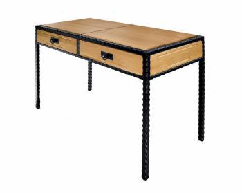Kovový stolek CARCASSONNE s vloženým dřevem IRON ART T 0511