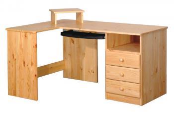 Psací stůl rohový,smrk, 3 zásuvky Bradop B741