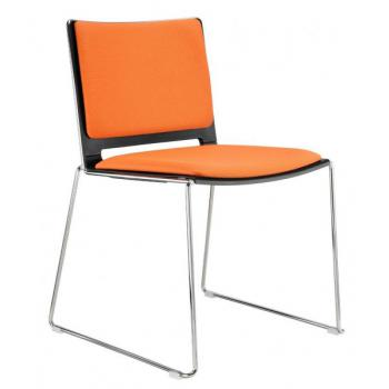 Jídelní plastová židle FILO, bez područek, čalouněná Alba