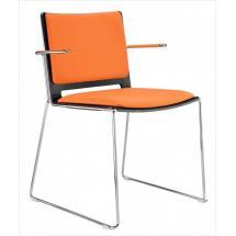 Jídelní plastová židle FILO, s područkami, čalouněná