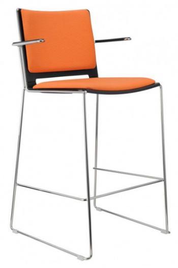 Barová židle FILO, plastová, čalouněná, područky Alba