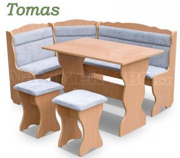 Jídelní sestava TOMAS, rohová lavice, stůl, taburet MEBLOHAND