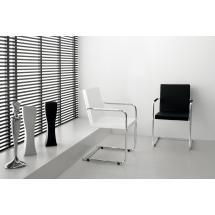 Židle H5 L (chrom, kůže, bílá)